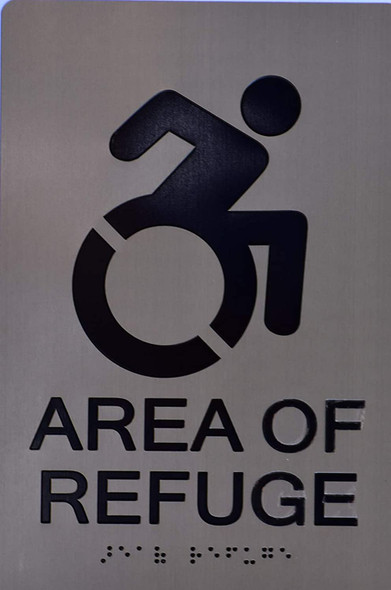 Area of Refuge SIGN - The Sensation line -Tactile Signs   Braille sign