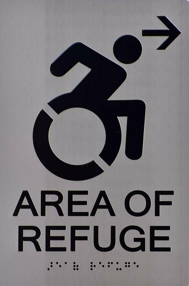 Area of Refuge SIGN (Right Arrow,Aluminium,,Size)- The Sensation line -Tactile Signs   Braille sign