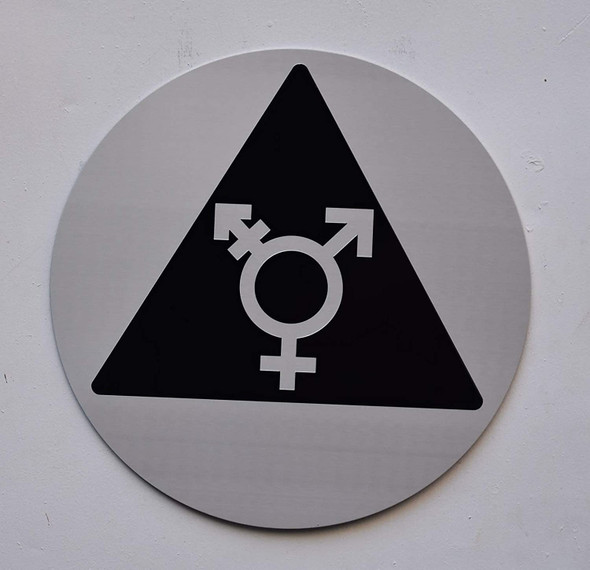 Gender Neutral Symbol ADA Door Sign  Triangle Sign - The Sensation line -Tactile Signs  Ada sign