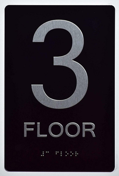 Floor Number Sign -Tactile Signs 3RD Floor Sign The Sensation line Ada sign