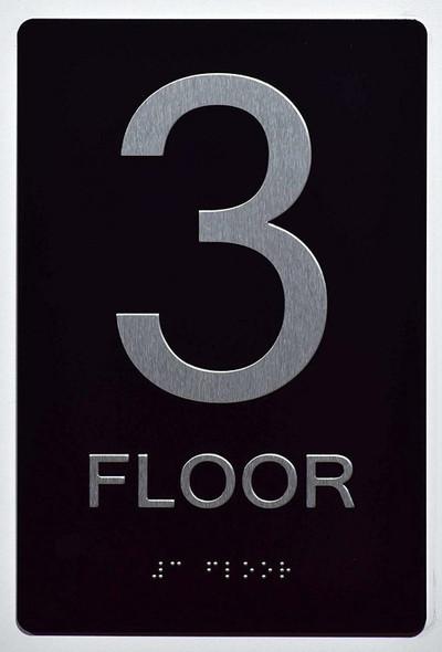Floor Number Sign -Tactile Signs 3RD Floor Sign The Sensation line  Braille sign