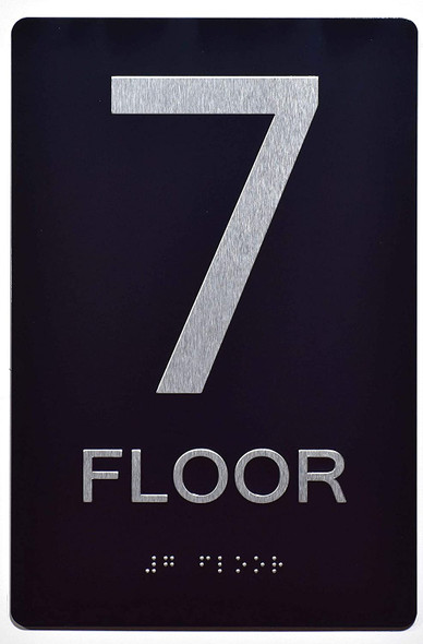 Floor Number Sign -Tactile Signs 7TH Floor Sign The Sensation line Ada sign