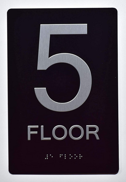 Floor Number Sign -Tactile Signs 5TH Floor Sign The Sensation line Ada sign