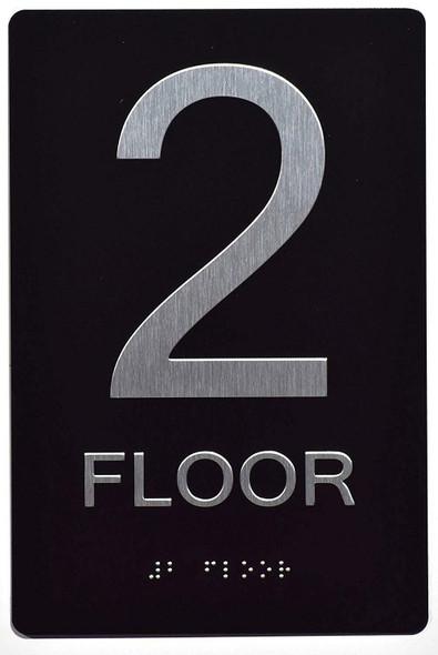 Floor Number Sign -Tactile Signs 2ND Floor Sign The Sensation line  Braille sign