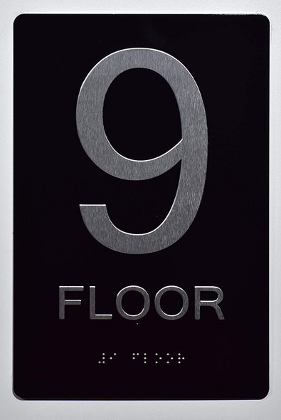Floor Number Sign -Tactile Signs 9TH Floor Sign The Sensation line Ada sign