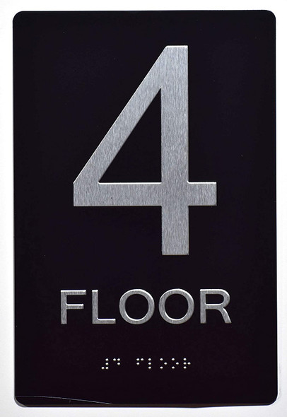Floor Number Sign -Tactile Signs 4TH Floor Sign The Sensation line  Braille sign