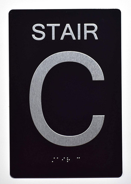 Stair C Sign -Stair Number Sign Black