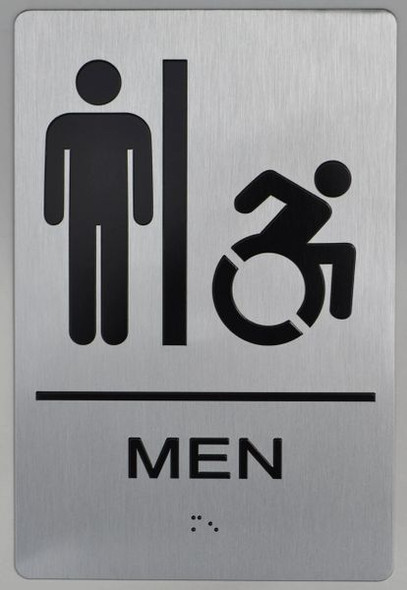 MEN ACCESSIBLE RESTROOM ADA Sign -Tactile Signs  The sensation line  Ada sign