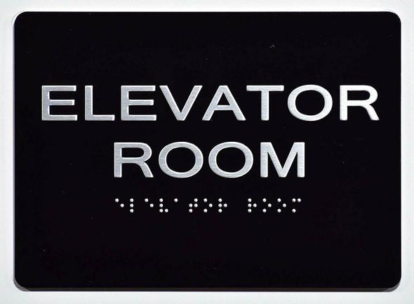 Elevator Room Sign Black