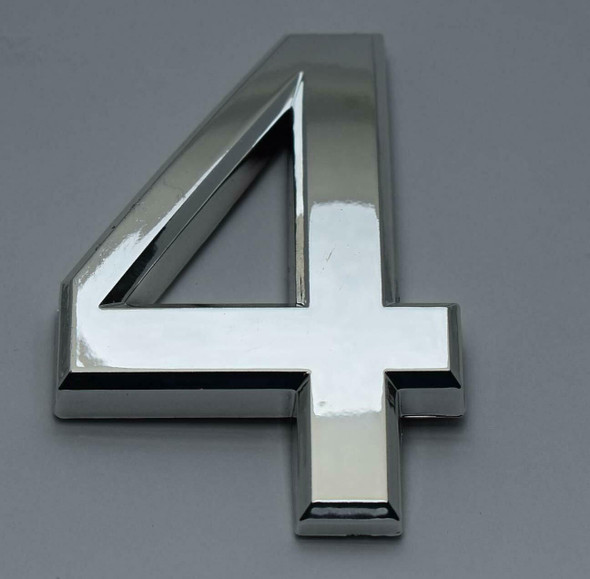2 PCS - Apartment Number Sign/Mailbox Number Sign, Door Number Sign. Number 4 Silver,3D