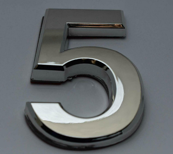 2 PCS - Apartment Number Sign/Mailbox Number Sign, Door Number Sign. Number 5 Silver,3D