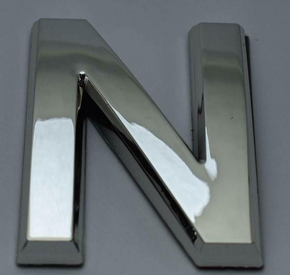 1 PCS - Apartment Number Sign/Mailbox Number Sign, Door Number Sign. Letter N Silver,3D