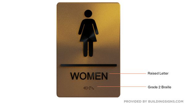 WOMEN Restroom Sign Gold