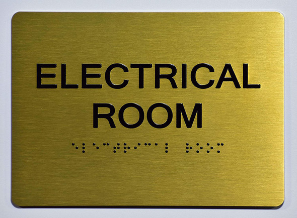 Electrical Room Sign -Gold,