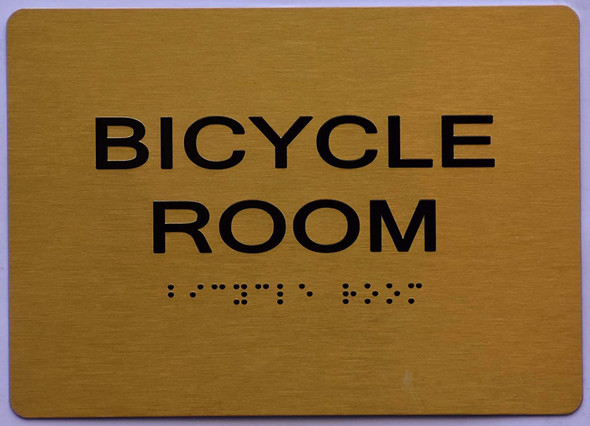 Bicycle Room Sign -Gold,