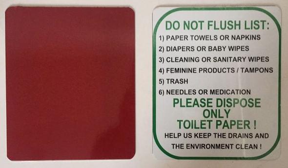 DO NOT FLUSH ONLY TOILET PAPER SIGN