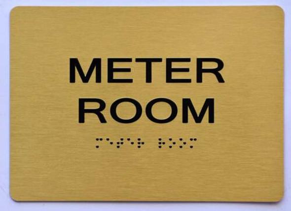 Meter Room Sign- Gold,
