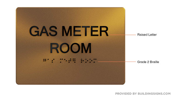 Gas Meter Room Sign - Gold,