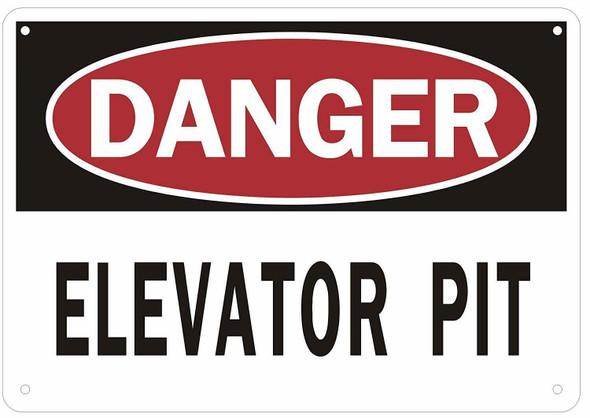 Danger Elevator Pit Sign (Aluminium Reflective, White)