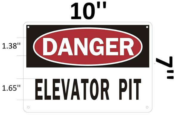 Danger Elevator Pit SIGNAGE (Aluminium Reflective, White)