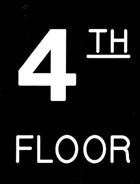 Floor number Sign - Four (4) Sign Engraved (PLASTIC)