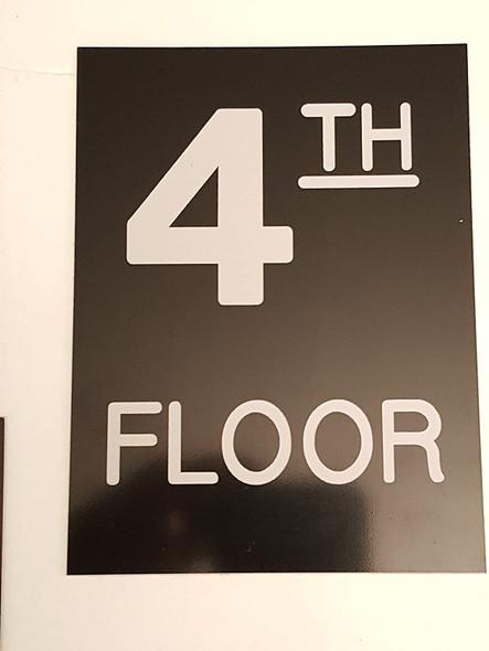 Floor number Sign - Four 4 sign Engraved Plastic-