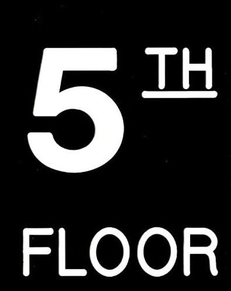 Floor number Five (5) Sign Engraved (PLASTIC)