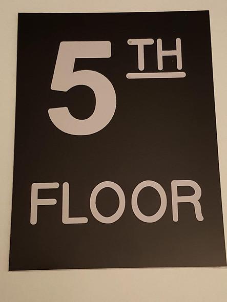 Floor number Five 5 sign Engraved Plastic-