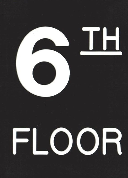 Floor number Six 6 sign Engraved Plastic-