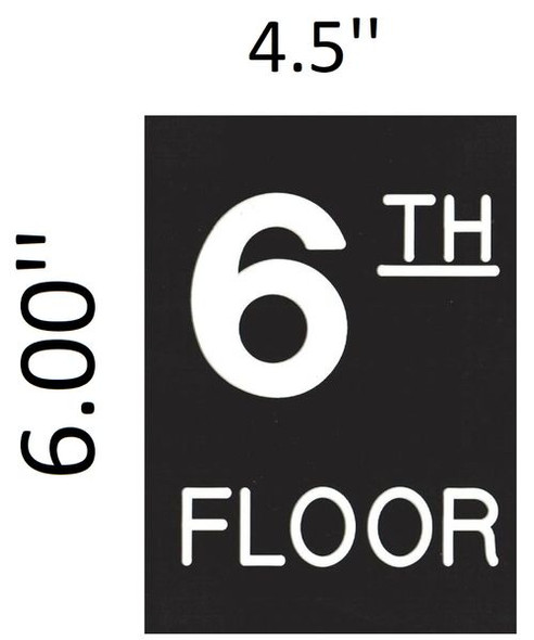 Floor number Six (6) Signage Engraved (PLASTIC)