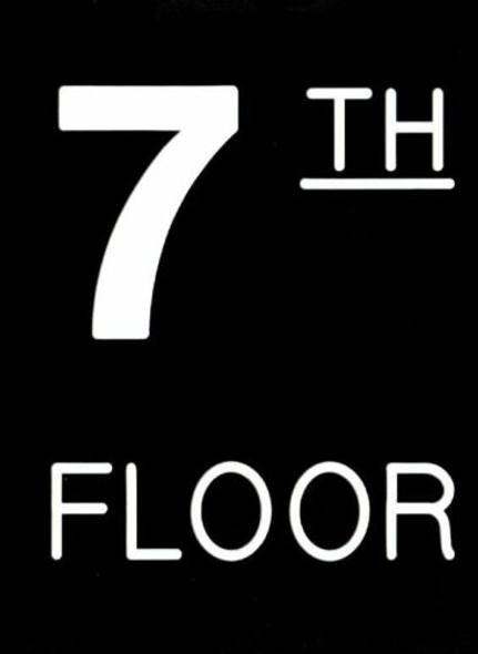 Floor number Seven 7 sign Engraved Plastic-