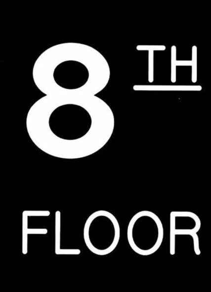 Floor number Eight 8 sign Engraved Plastic-