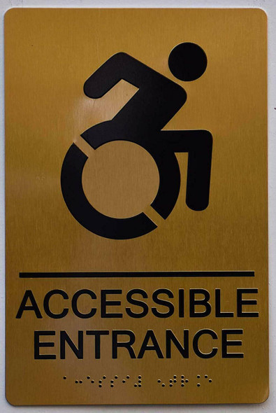 ACCESSIBLE Entrance Sign - Gold,