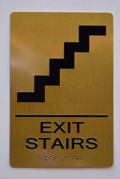 Gold EXIT Stairs Sign