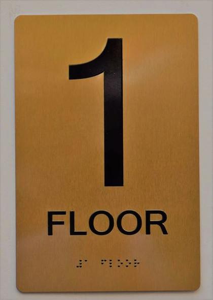 Floor 1 Sign- 1ST Floor Sign- Gold,