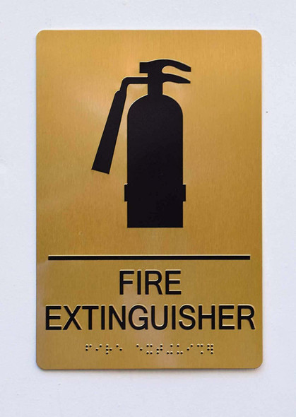 Gold FIRE Extinguisher Sign