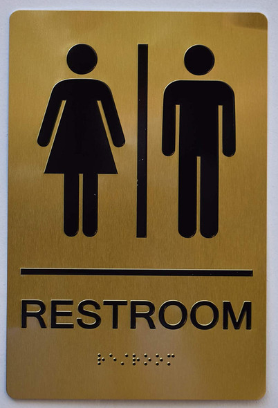 Unisex Restroom Gold Sign ,