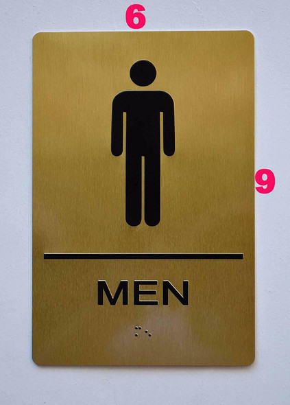 Men Restroom Gold Sign ,