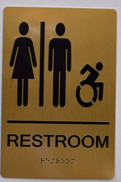 Unisex ACCESSIBLE Restroom Gold ,