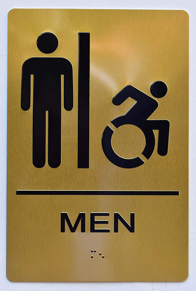 Men ACCESSIBLE Restroom Sign Gold ,