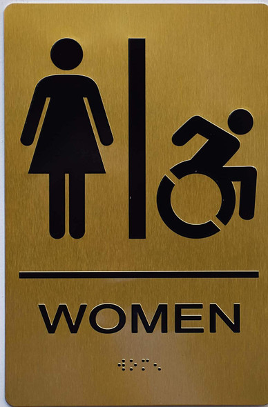 Women ACCESSIBLE Restroom Sign Gold ,