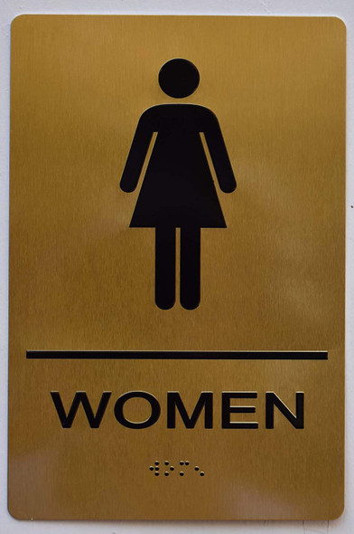 Women Restroom Gold Sign ,