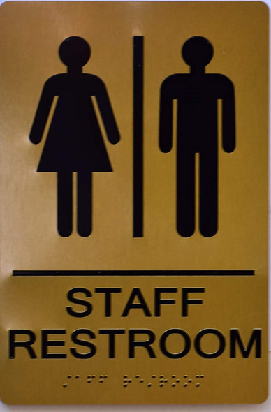 Staff Restroom Gold Sign ,