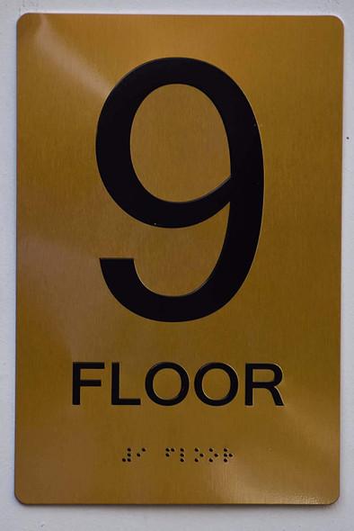 Floor 9 Sign- 9th Floor Sign- Gold,