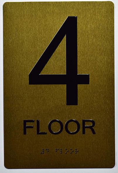 Floor 4 Sign- 4th Floor Sign- Gold,