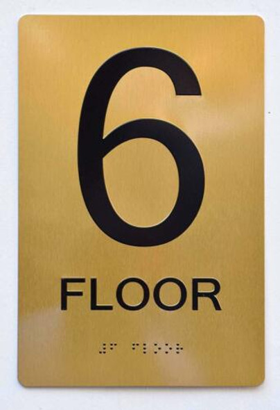 Floor 6 Sign- 6th Floor Sign- Gold,