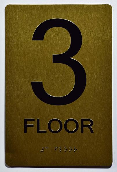 Floor 3 Sign- 3rd Floor Sign- Gold,