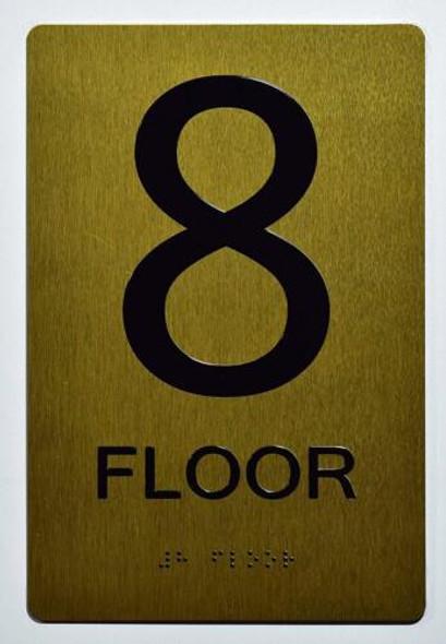 Floor 8 Sign- 8th Floor Sign- Gold,