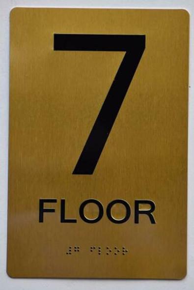 Floor 7 Sign- 7th Floor Sign- Gold,