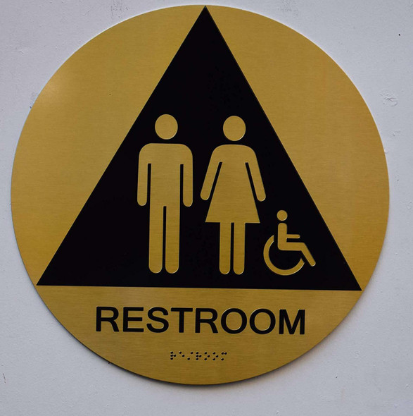 Unisex ACCESSIBLE Restroom CA 128-ADA- Tactile Signs  The Sensation line  Braille sign